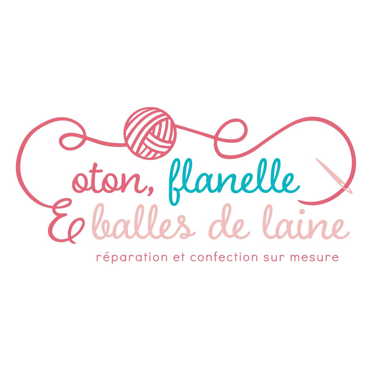 Logo Coton, flanelle et balles de laines